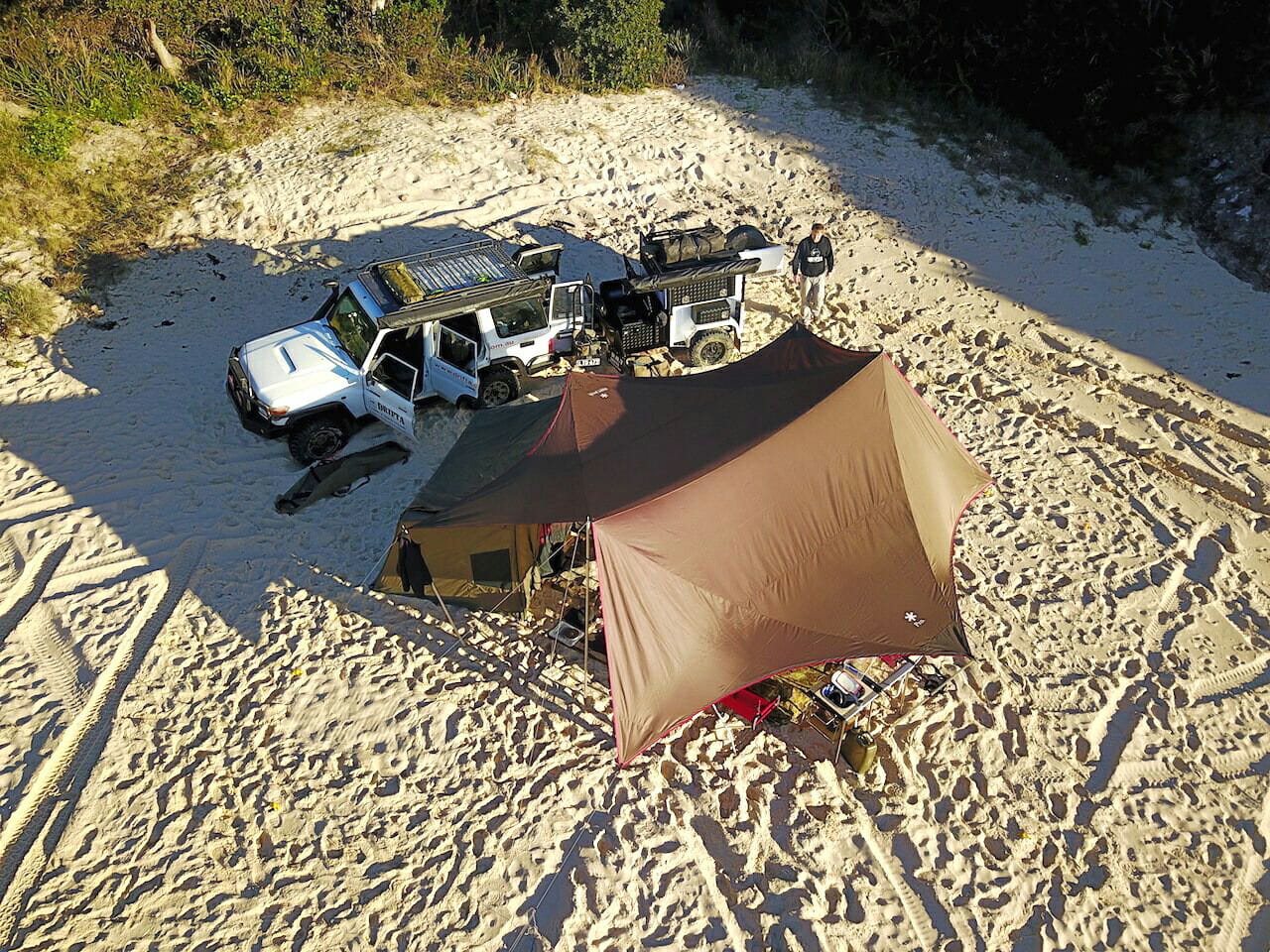 Drifta camping set up on the beach