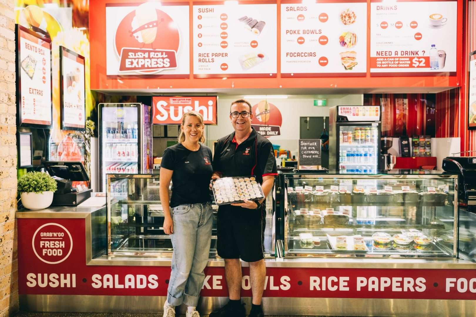 Coffs Harbour's Sushi Roll Express offers a new service with a smile