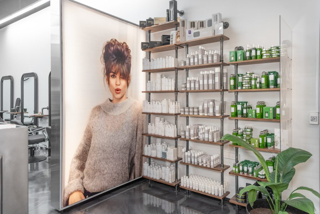 Hair products in situ at Abbey Hair & Co. Coffs Central
