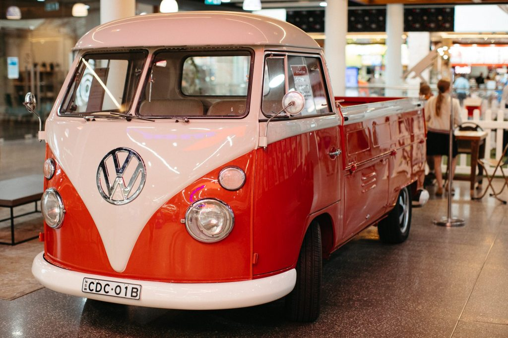 A red Kombi at Coffs Central
